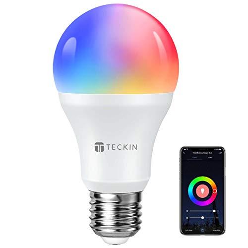TECKIN Bombilla Inteligente LED WiFi con luz cálida 2800k-6200k + RGB lámpara color cambiable Funciona con móvil, Google Home, E27 7.5W (no se requiere hub) [Clase de eficiencia energética A]