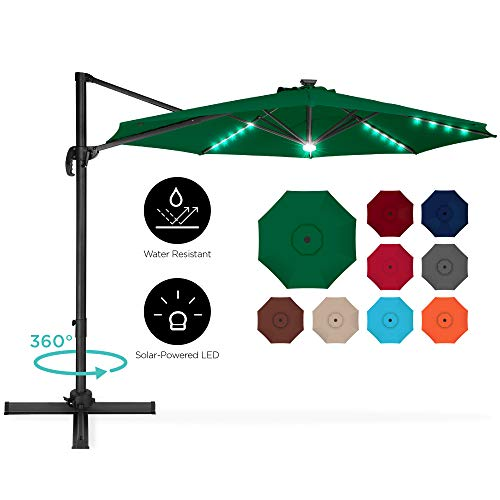 Best Choice Products 10ft 360-Degree LED Cantilever Offset Hanging Market Patio Umbrella w/Easy Tilt - Green