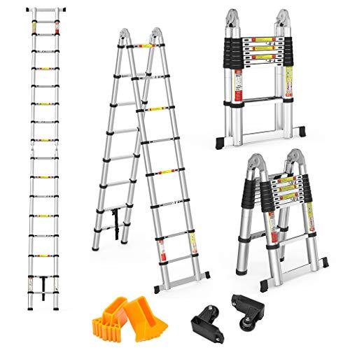 Finether 5 M Échelle Télescopique 2 en 1 Escabeau Pliant Ladder (Multifonctions, Extendable, Aluminium, Certifié EN131, Résistance à 150kg)