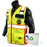 KwikSafety (Charlotte, NC) CLASSIC SUPREME (10 Pockets) Class 2 ANSI High Visibility Reflective Safety Vest Heavy Duty Mesh with Zipper and Hi Vis Construction Work Men Yellow Black Orange Medium