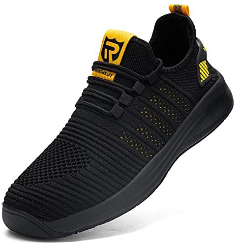 LARNMERN Zapatillas de Running para Hombre Antideslizante Impermeable Zapatos para Correr y Asfalto Aire Libre y Deportes Calzado(Amarillo 44)