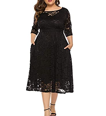 Women's Scooped Neckline Floral lace Top Plus Size Cocktail Party Midi Dress The drop down size is US Plus SIZE. Midi dress Slightly sheer, Elegant Floral Lace Pattern, Regular Fit, Ruffle ,Pleated, Loose bottom,Wrapped Chest Design Extremely sexy.Pl...
