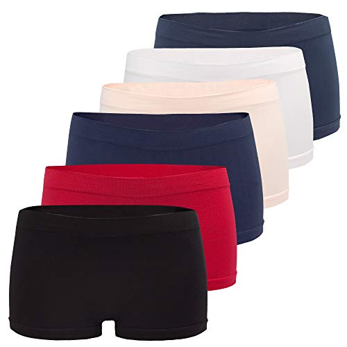 Fabio Farini Damen Panties 6er Pack Hipsters Boxershorts nahtlos, Seamless aus weichem Microfaser-Gewebe, Multifarbset, Gr. 36-38/ S-M