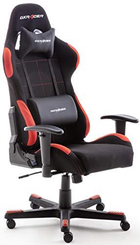 Robas Lund OH/FD01/NR DX Racer 1 Gaming-/ Büro-/ Schreibtischstuhl, mit Wippfunktion Gamer Stuhl Höhenverstellbarer Drehstuhl PC Stuhl Ergonomischer Chefsessel, schwarz-rot
