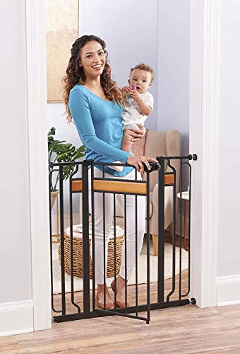 Regalo Home Accents Extra Tall and Wide Baby Gate, Bonus Kit, Includes Dcor Hardwood, 4-Inch Extension Kit, 4-Inch Extension Kit, 4 Pack Pressure Mount Kit and 4 Pack Wall Cups and Mounting Kit