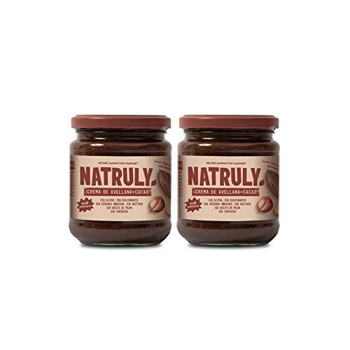 NATRULY Crema de Avellanas y Cacao Sin Azúcar y Sin Edulcorantes, Endulzada con Fibra de Achicoria, Sabor Chocolate con Leche (Pack 2*285g)