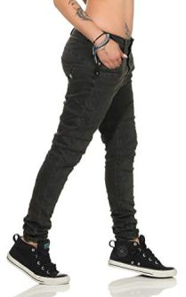 10118-fashion4young-Knackige-Damen-Jeans-Rhrenjeans-Hose-Boyfriend-Style-Damenjeans-Streetstyle-XS34-Oliv