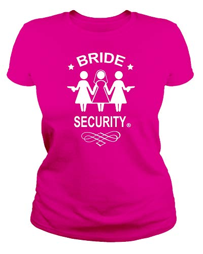 IDEAMAGLIETTA - Camiseta de Despedida de Soltera con Texto Bride Security Sposa Fucsia XL