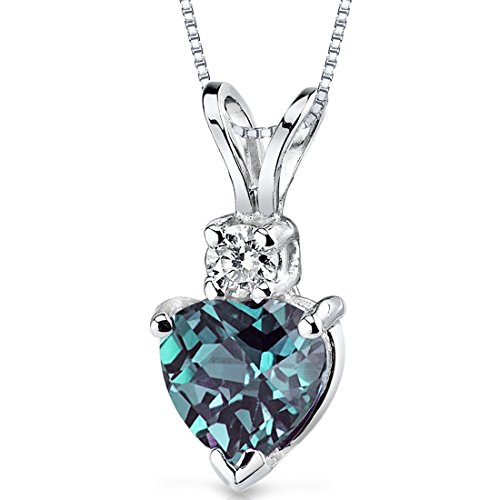 Peora Created Alexandrite with Genuine Diamond Pendant in 14...