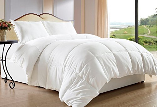 Maiija Deluxe Comfy Goose Down Alternative Box Stitch Comforter, Duvet Cover, 2 Pillow Case White (King 102X92)