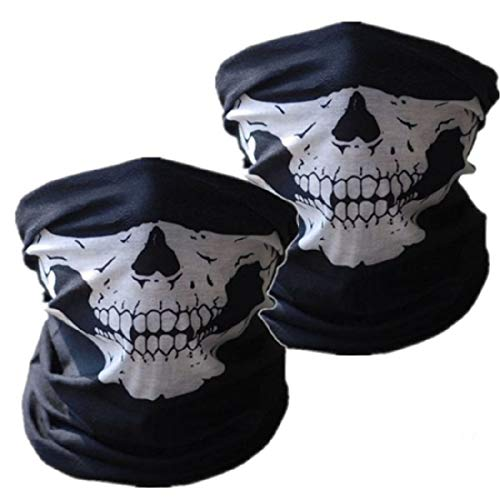 SOFIT Skull Mask Maschera Tubolare Cranica, Mezzo Cranio Maschera, Bandana Maschera per Bici Motocicletta (2 PCS)