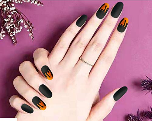 Cathercing 24 Pcs Design False Nails Medium False Nails Round Head Nails with Fire Pattern Fake Gel Tips Art Fingernails Clip on Nail for Women Teen Girls Gift Prom Party Halloween (black and orange)