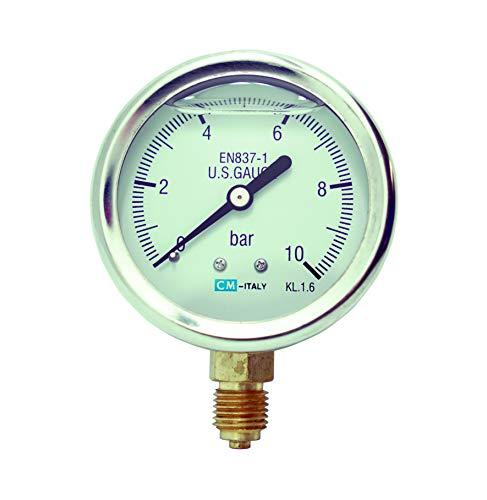 Manometer, NG63 Ø63mm, 0-10bar G1/4' unten Glyzerin gefüllt