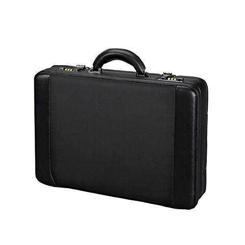 Juscha 45039 Alassio - Leather Briefcase with Removable Laptop Sleeve (Several Compartments, Expandable by 2 cm), Black Color