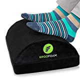 ErgoFoam Adjustable Foot Rest Under Desk for Added Height - Large Premium Velvet Soft Foam Footrest...