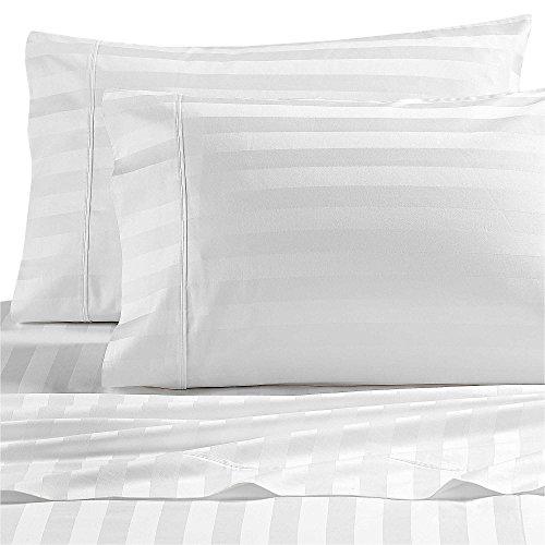 Wamsutta Dream Zone Stripe 1000-Thread-Count PimaCott Queen Sheet Set in White