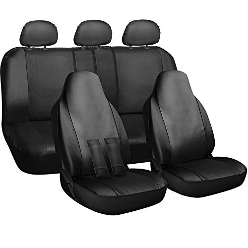 Motorup America Auto Seat Cover Full Set - Fits Select Vehicles Car Truck Van SUV - Solid Leather Black