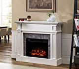 Sunjoy Oscar 46' Indoor Electric Fireplace Mantel with 23' Insert, White