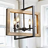 LOG BARN Farmhouse Kitchen Island Pendant Distressed Wood and Matte Black Metal Finish, Large, 18' Small Dining Room Light Fixture