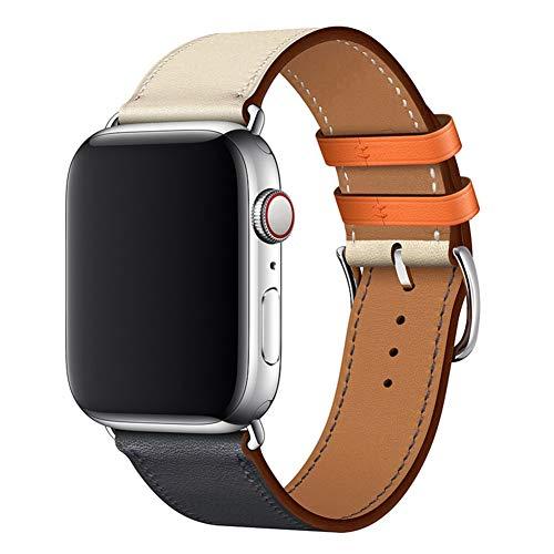 WFEAGL コンパチブル Apple Watch バンド,は本革レザーを使い、iWatch Series4/3/2/1、Sport、Edition向け...