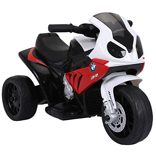 HOMCOM Moto électrique pour Enfants 3 Roues 6 V 2,5 Km/h Effets Lumineux et sonores Rouge BMW S1000 RR