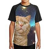 ボーイ 半袖 吸水速乾 無地 シンプル おしゃれ 宇宙 猫 3D 少年Tシャツ スタイリッシュ おもしろ デザイン 高校生用