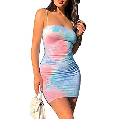 ♠Material: Made of stretchy milk silk fabric, soft and smooth touch, slim fitted. High quality, lightweight and breathable, comfortable to wear. Easy wash and quick dry. ♠Style: Skinny fit, sexy square neck, sleeveless, backless. Eye-catching tie dye...