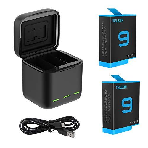 TELESIN Caricabatteria tripla e scatola di immagazzinaggio di batteria con caricabatteria a 3 canali con 2 batterie ricaricabili agli ioni di litio per Gopro Hero 9 Black (Caricatore + 2 batterie)