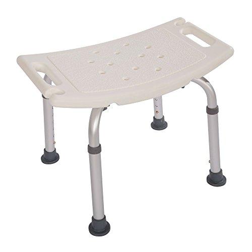 Goujxcy Bath Chair Shower Bench 6 Gears Heigh Adjustable Seat Stool Heavy Duty Aluminium Alloy Anti-Slip for Senior Citizen Children Pregnant Woman White