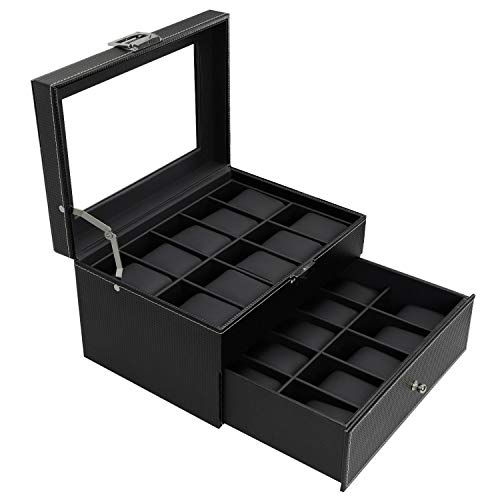 BASTUO 20 Watch Box Watch Display Organizer Carbon Fiber Leather Watch Storage Case,Black with Glass Top