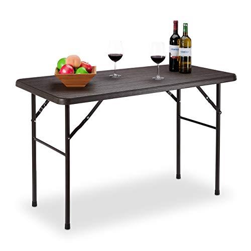 Relaxdays Tavolo Giardino, Aspetto Legno, Pieghevole, Plastica & Metallo, Esterni, Bistr HLP: 74 x 120 x 60 cm, Marrone