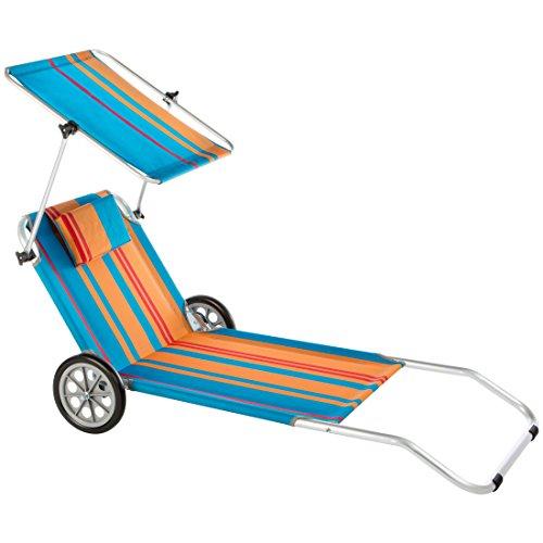 Ultranatura Strandliege Nizza mit Sonnendach und Rädern
