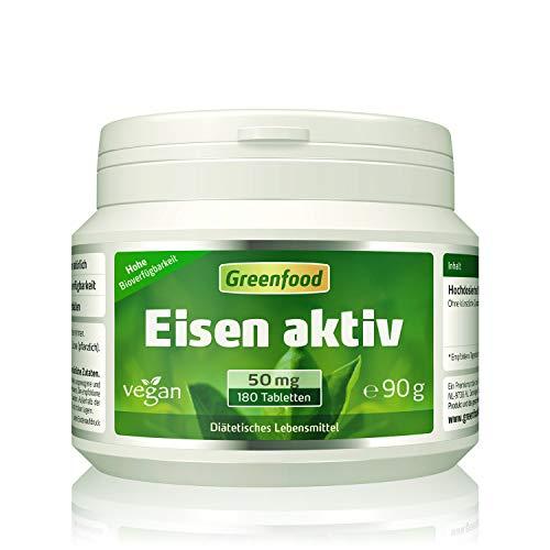 Eisen aktiv, 50 mg, extra hochdosiert, 180 Tabletten, hohe Verfügbarkeit, hervorragend verträglich, vegan – gegen Eisenmangel. OHNE künstliche Zusätze. Ohne Gentechnik.