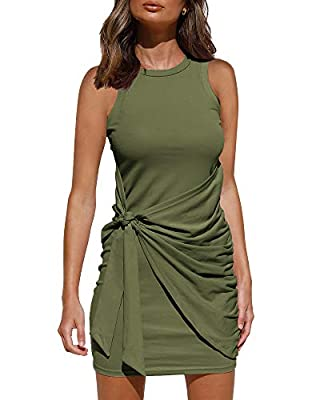 ★FEATURE : Bodycon Dress, Tank Dress, Wrap Party Dress, Sleeveless, Crew Neck, Tie Waist. With The Same Color Lining, Makes Sure Will Not See Through and Will Offer You First-Class Comfort.The Simple and Basic Dress Design Makes This Mini Dress Suita...