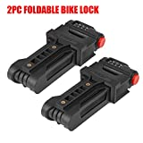 BIGLUFU 2PC Bike Lock Bicycle Scooter Motorcycle Folding Locks, Fold Chain Heavy Duty Alloy Steel Foldable Lock with Mounting Bracket and 2pc Non-Slip Velcro Straps (2- Pack Combination Folding Lock)