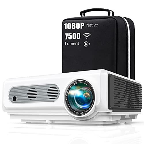 Vidéoprojecteur WiFi Bluetooth Full HD 1080P, 7500 Lumens TOPTRO 5G Rétroprojecteur Supporte 4K ,Projecteur Compatible iPhone Android Téléphone, Zoom X/Y, 300'' Display Home Cinéma Outdoor Film