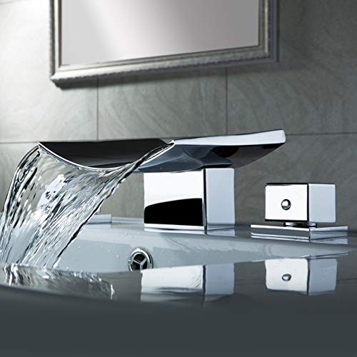 AUXO Group Two Handle Waterfall Widespread Bathroom Faucet