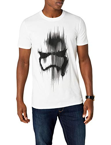 Star Wars Trooper Mask Camiseta, Blanco, 2XL para Hombre