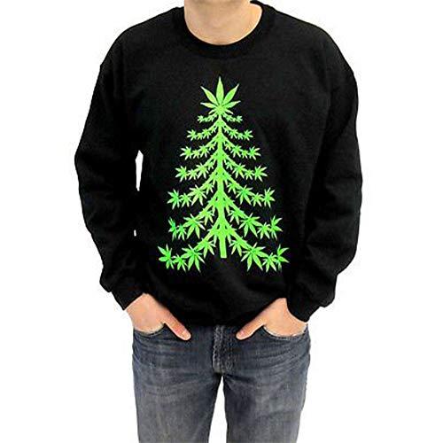 Ugly Christmas Sweater - Marijuana Christmas Tree Adult Black Sweatshirt (Adult Large)