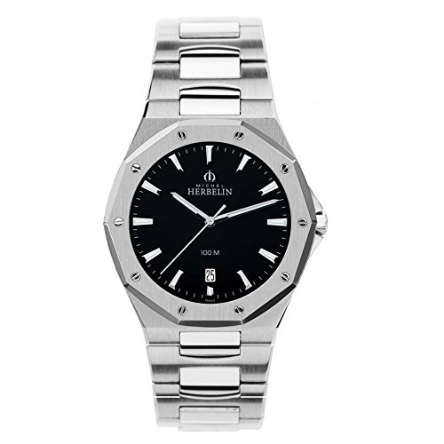 Michel Herbelin Unisex Erwachsene Analog Uhr mit Edelstahl Armband 12231/B14