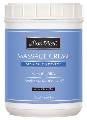 Bon Vital' Multi-Purpose Massage Crème, Professional Massage Cream with Aloe Vera to Relax Sore Muscles, Increase Circulation & Repair Dry Skin, Full Body Massage Moisturizer Cream, 1/2 Gallon Jar