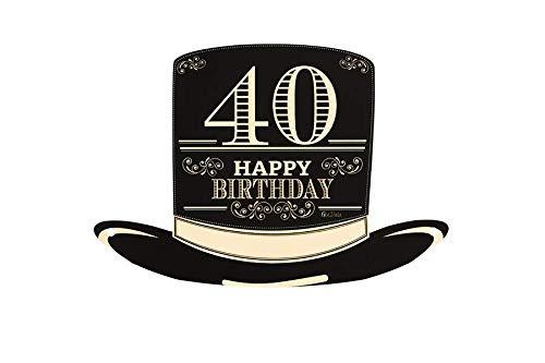 Givi Italia Cappello a Cilindro Piatto in Carta con Laccio 40 Anni Happy Birthday Festa Compleanno 4 pz