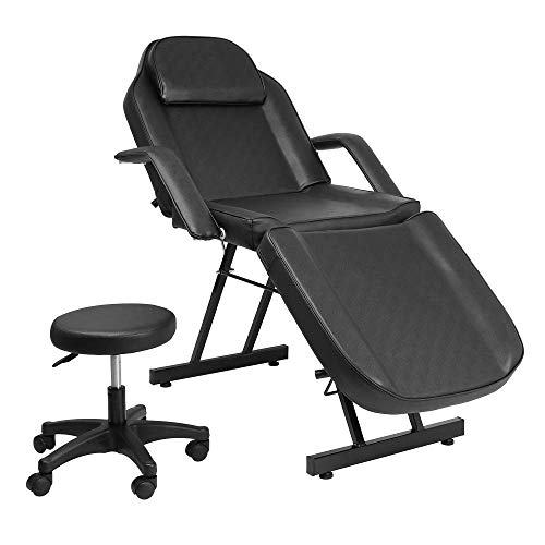 Message Salon Tattoo Chair Bed with Stool Spa Table Chair Max Weight Capacity 500lbs