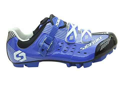 SIDEBIKE MTB-Fahrradschuhe Mountainbike Schuhe Radsportschuhe professionelle rutschfeste atmungsaktive für Herren/Damen, Blau - Größe: 45 EU