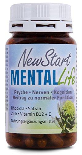 New Start - Mental Life, Echtes Safran-Rhodiola-Extrakt mit Zink, Vitamin B12 und Vitamin C (60 Kapseln)