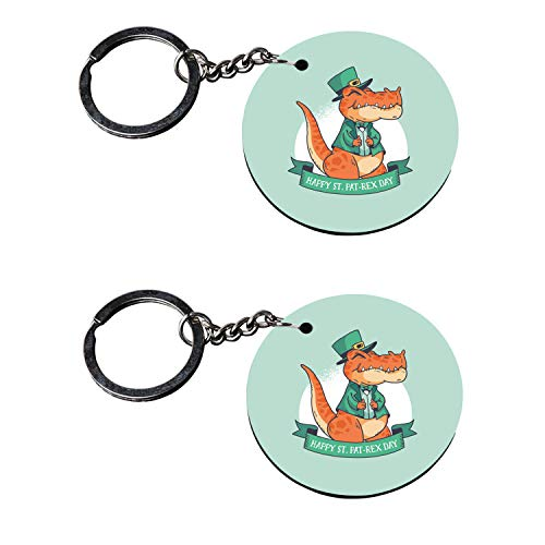 Tinywalk keychains for teenage girls wooden Printed Keyring & Keychain (2X2) inch set of 2 pieces