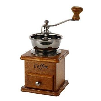 Zulux Vintage Manuel Moulin à café en céramique Conical Burr Main Portable Maker Crank Coffee (Flaxen)