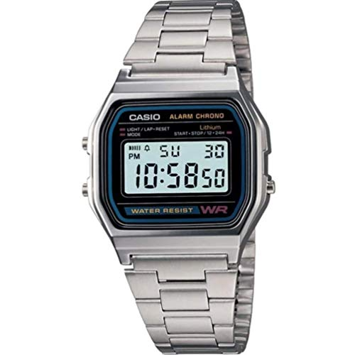 CASIO A158 Armbanduhr, Edelstahlband