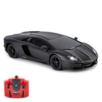 Lamborghini Aventador Official Licensed Remote Control Car with Working Lights, Radio Controlled On Road RC Car 1:24 Scale, 2.4Ghz Matte Black, Great Toys for Boys and Girls