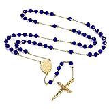 Chapelet Catholique,Collier Rosaire Chapelet Or avec Perles Bleu,Médaille Saint Vierge Marie Pendentif Crucifix Croix en Acier,Chaine Ajustable 66+16cm,Bijoux pour Communion Baptême Femme/Homme
